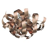 Rawley Satin Copper Twisted Ribbon Flush Ceiling Light