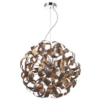 Rawley Satin Copper Twisted Ribbon 9 Light Pendant