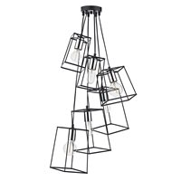 Tower Black and Polished Chrome Cluster Light Pendant